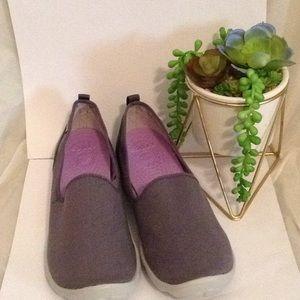 Women's Crocs Gray Canvas Slip On Shoes